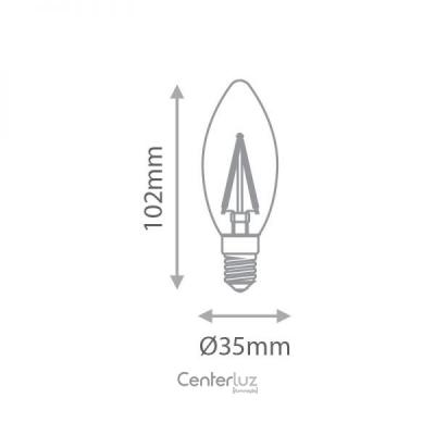 Lâmpada LED Vela Lisa 2W 2700K (Branco Quente)